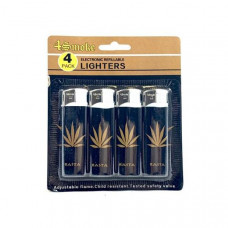 12 x 4Smoke 4 Pack Electronic Printed Lighters - DY007 - Design: Black Leaf