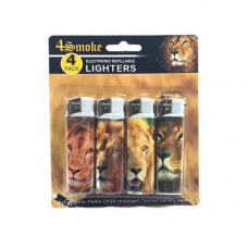 12 x 4Smoke 4 Pack Electronic Printed Lighters - DY007 - Design: Lion