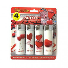 12 x 4Smoke 4 Pack Electronic Printed Lighters - DY007 - Design: Love Heart