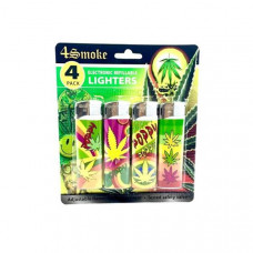12 x 4Smoke 4 Pack Electronic Printed Lighters - DY007 - Design: Poppy Leaf