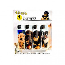 12 x 4Smoke 4 Pack Electronic Printed Lighters - DY007 - Design: Puppy