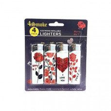 12 x 4Smoke 4 Pack Electronic Printed Lighters - DY007 - Design: Roses