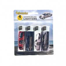 12 x 4Smoke 4 Pack Electronic Printed Lighters - DY007 - Design: Car