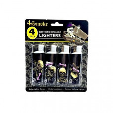 12 x 4Smoke 4 Pack Electronic Printed Lighters - DY007 - Design: Skull