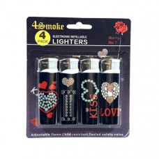 12 x 4Smoke 4 Pack Electronic Printed Lighters - DY007 - Design: Love Heart 2