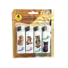 12 x 4Smoke 4 Pack Electronic Printed Lighters - DY007 - Design: Kitten
