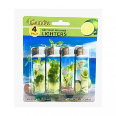 12 x 4Smoke 4 Pack Electronic Printed Lighters - DY007 - Design: Mojito