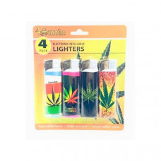 12 x 4Smoke 4 Pack Electronic Printed Lighters - DY007 - Design: Rasta
