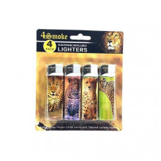 12 x 4Smoke 4 Pack Electronic Printed Lighters - DY007 - Design: Cheetah