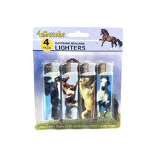 12 x 4Smoke 4 Pack Electronic Printed Lighters - DY007 - Design: Horse