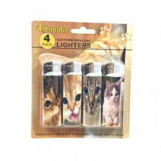12 x 4Smoke 4 Pack Electronic Printed Lighters - DY007 - Design: Cat