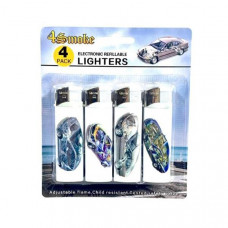 12 x 4Smoke 4 Pack Electronic Printed Lighters - DY007 - Design: Engine