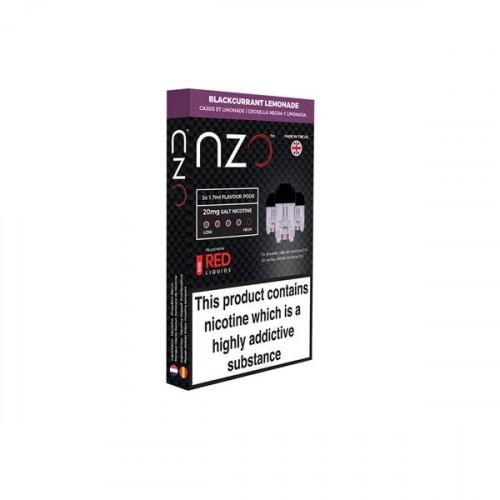 NZO 20mg Salt Cartridges with Red Liquids Nic Salt (50VG/50PG) - Flavour: Blackcurrant and Lemonade