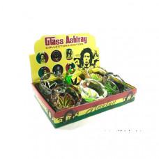 6 x Bob Marley leaf Glass Ash Tray - ASH001