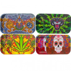 Large Mixed Design Magnetic Metal Rolling Trays with Lid - Design: Animal